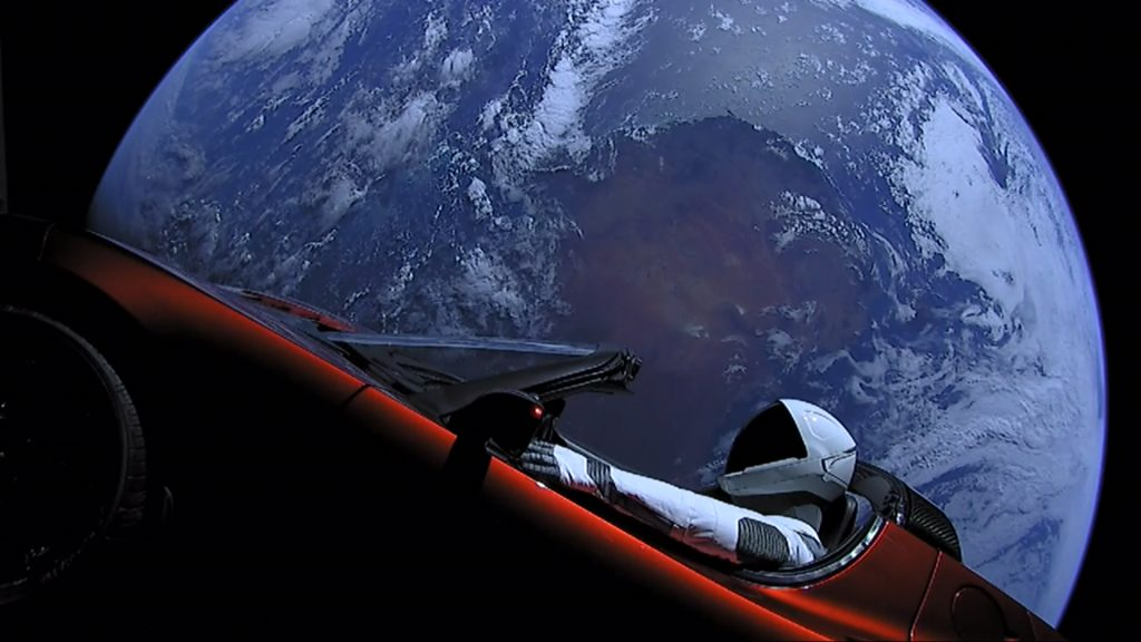 Elon Musk, Tesla Roadster in Space
