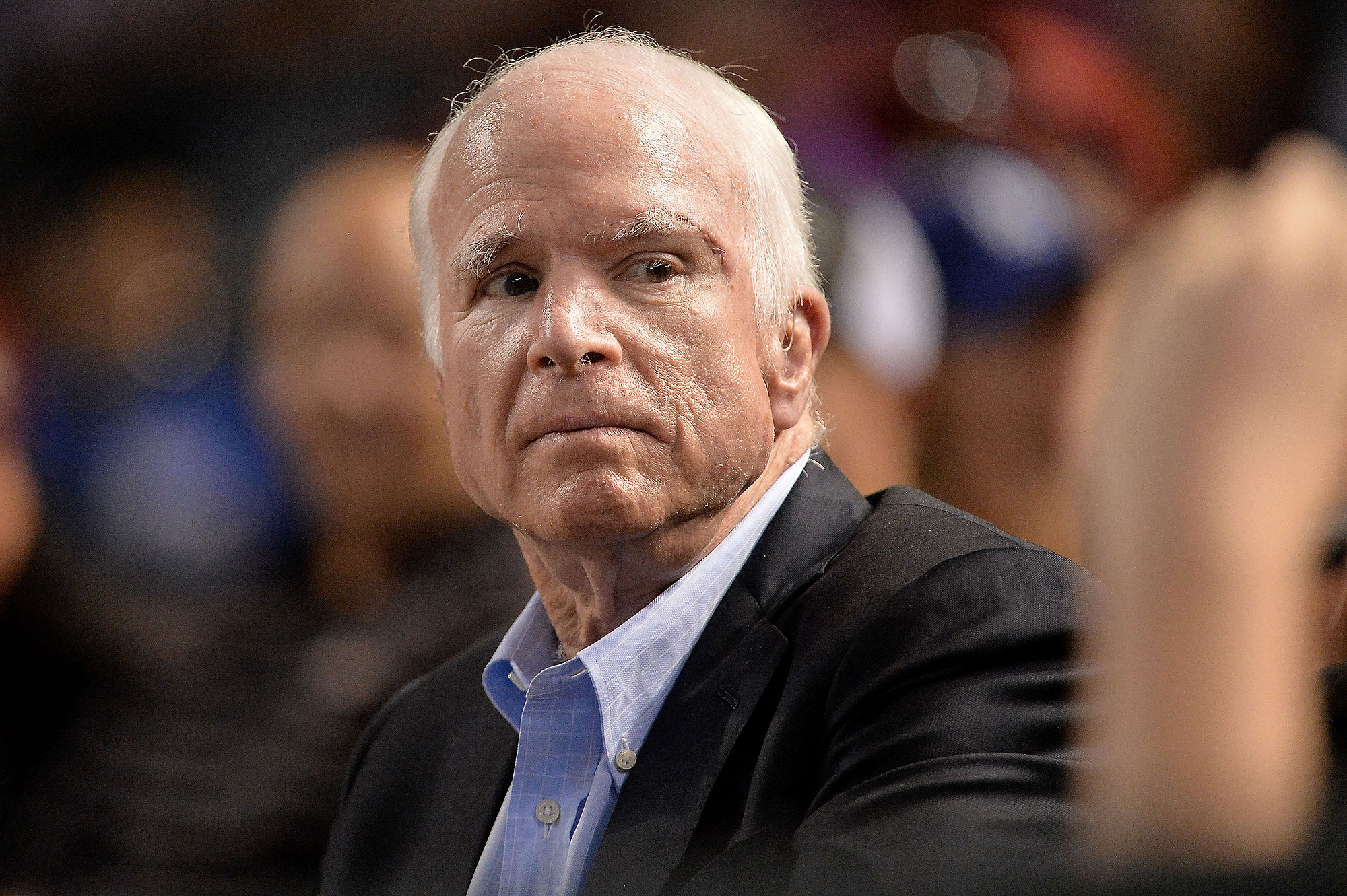 PHOENIX, AZ - AUGUST 10:  Senator John McCain (R-AZ) looks on while attending the MLB game between the Los Angeles Dodgers and Arizona Diamondbacks at Chase Field on August 10, 2017 in Phoenix, Arizona.  (Photo by Jennifer Stewart/Getty Images)