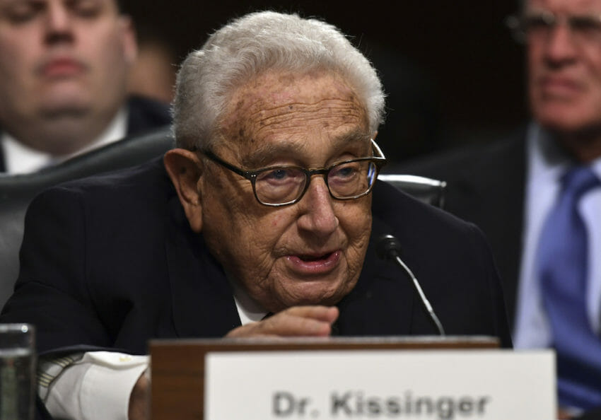 Former Secretary of State Henry Kissinger in January at a Senate Armed Services Committee hearing on global challenges and U.S. national security strategy. In 1973, Kissinger secretly helped topple Salvador Allende, Chile's elected president. (Susan Walsh / AP)