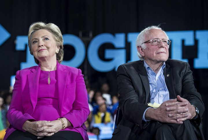 RALEIGH, NC - Democratic Nominee for President of the United States former Secretary of State Hillary Clinton, with Senator Bernie Sanders (I-VT), speaks to and meets North Carolina voters at Coastal Credit Union Music Park at Walnut Creek during a rally in Raleigh, North Carolina Thursday November 3, 2016. (Photo by Melina Mara/The Washington Post via Getty Images)