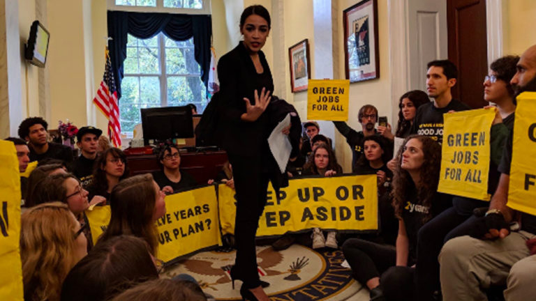 Activists and Alexandria Ocasio-Cortez Demand Nancy Pelosi Take Action on Climate