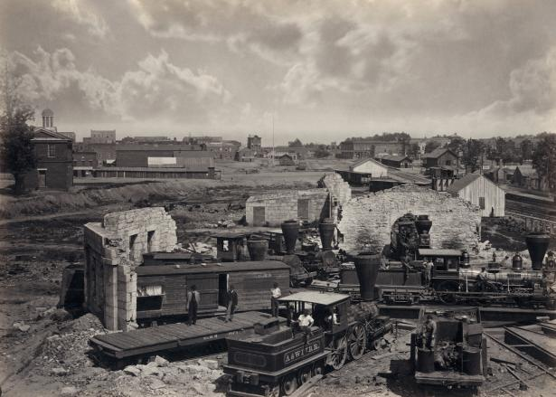 Atlanta's rail yard and roundhouse shortly after the end of the Civil War, Library of Congress