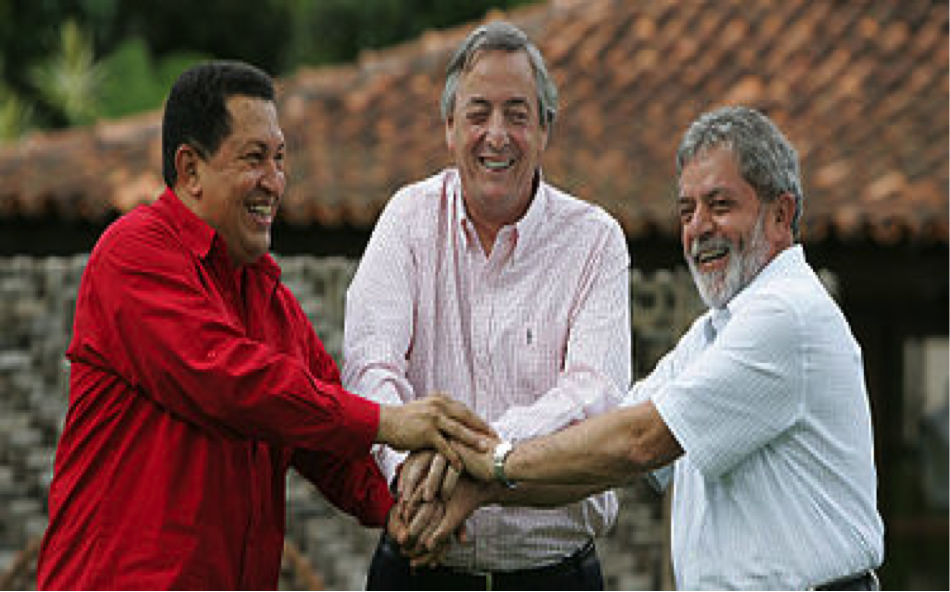 Chávez with fellow South American presidents Néstor Kirchner of Argentina and Lula da Silva of Brazil…...Photo Wikipedia