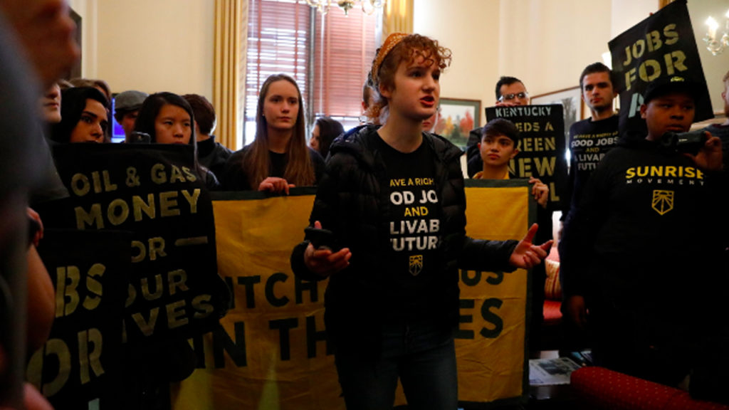 Protestors Storm Mitch McConnell's Office Demanding a Green New Deal