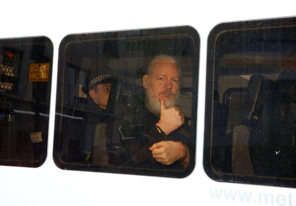 Julian Assange on Bus Arrested