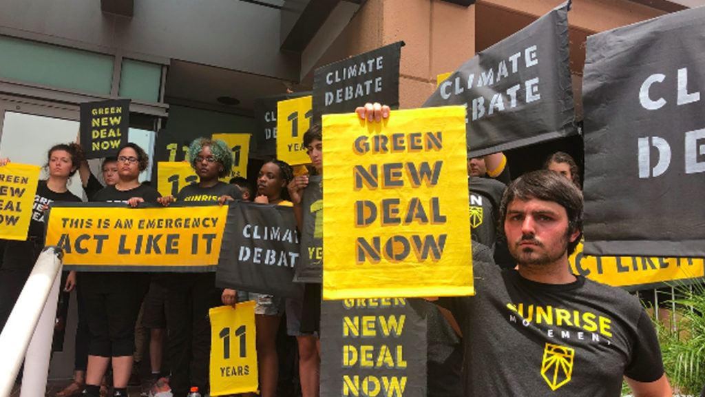 Sunrise Sits In at DNC Headquarters, Demanding Climate Debate