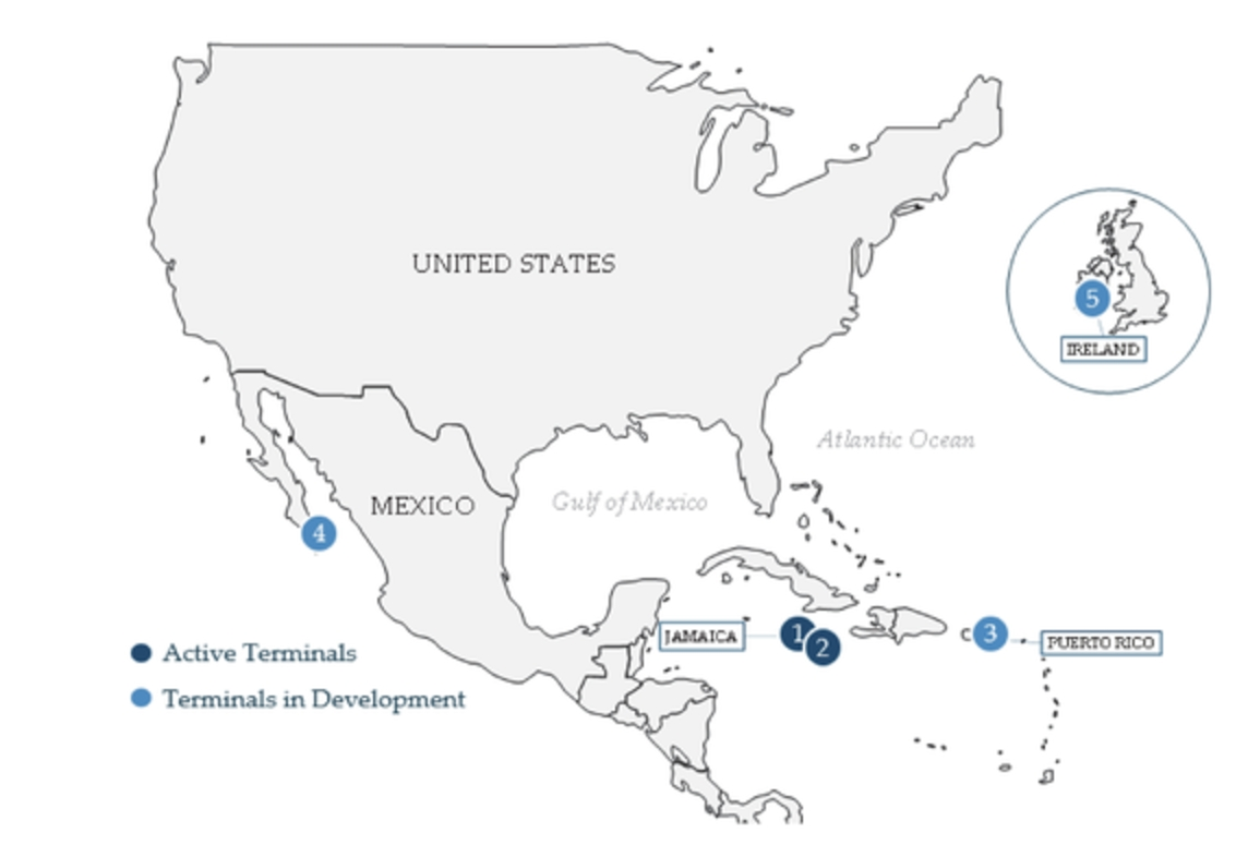 New Fortress Energy TerminaIs Map; Image Credit: U.S. Securities and Exchange Council