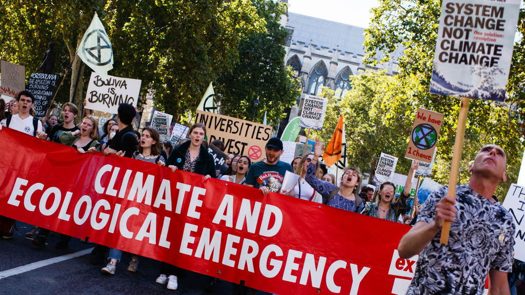Protesters marching at a climate demonstration leading up to the UN Summit.