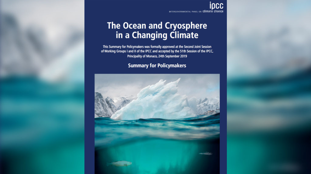 Cover of the September 24, 2019 IPCC report summary