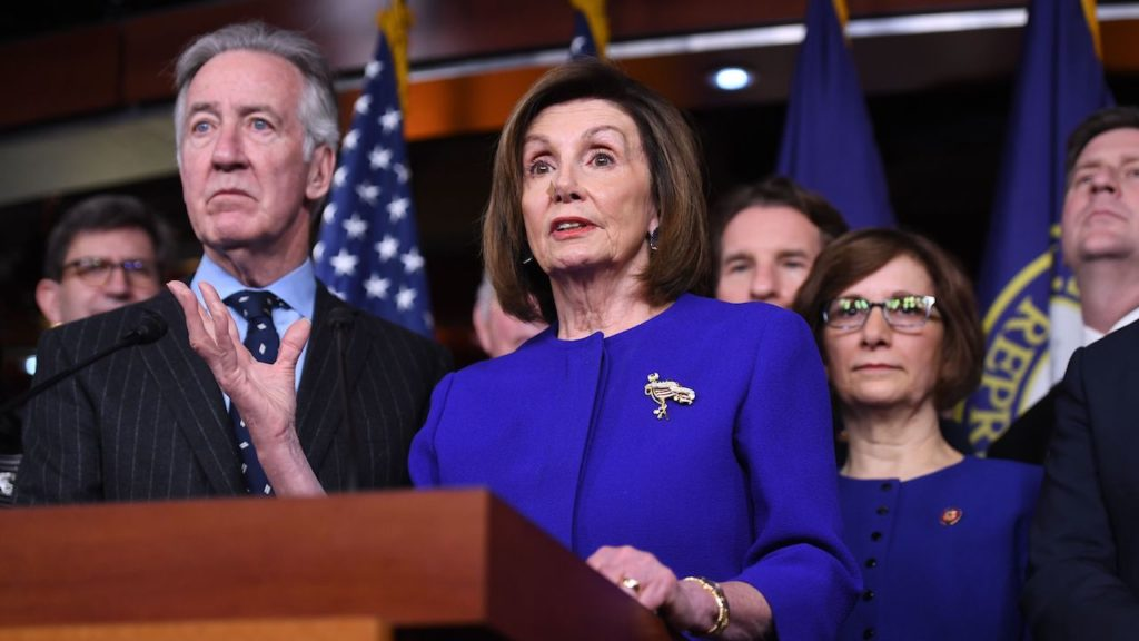 Speaker of the House Nancy Pelosi and House Ways and Means Committee Chairman Richard Neal(L), Democrat of Massachusetts, speaks about the US - Mexico - Canada Agreement, known as the USMCA, on Capitol Hill in Washington, DC, December 10, 2019. - Officials from the US, Canada and Mexico will meet in Mexico on Tuesday for talks on a new continent-wide trade deal after President Donald Trump hinted that efforts to push the pact through the US Congress were close to success. (Photo by SAUL LOEB / AFP) (Photo by SAUL LOEB/AFP via Getty Images)