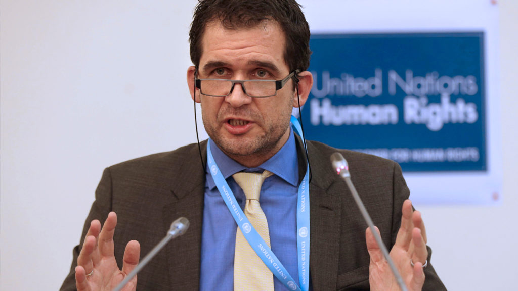 United Nations (UN) Special rapporteur on torture Nils Melzer gestures as he speaks during a press conference in Ankara, on December 2, 2016. ADEM ALTAN/AFP via Getty Images