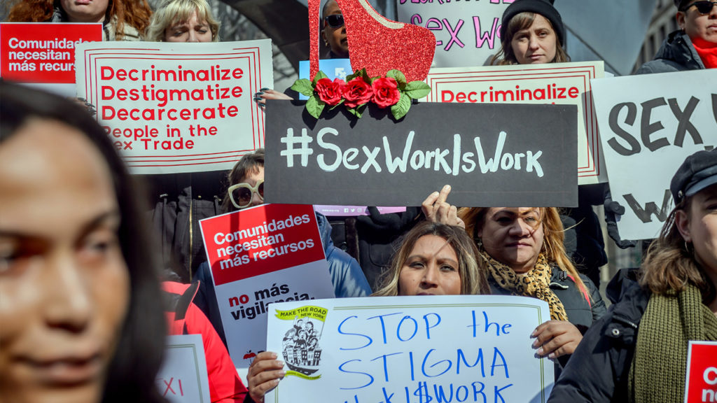 FOLEY SQUARE, NEW YORK, UNITED STATES - 2019/02/25: LGBTQ+, immigrant rights, harm reduction and criminal justice reform groups, led by people who trade sex, launched 20+ organization coalition, Decrim NY, to decriminalize and decarcerate the sex trades in New York city and state. Senate Labor Committee Chair Ramos and Womens Health Committee Chair Salazar and Assembly Health Committee Chair Gottfried announced intention to introduce comprehensive decriminalization bill this session. Erik McGregor/Pacific Press/LightRocket via Getty Images