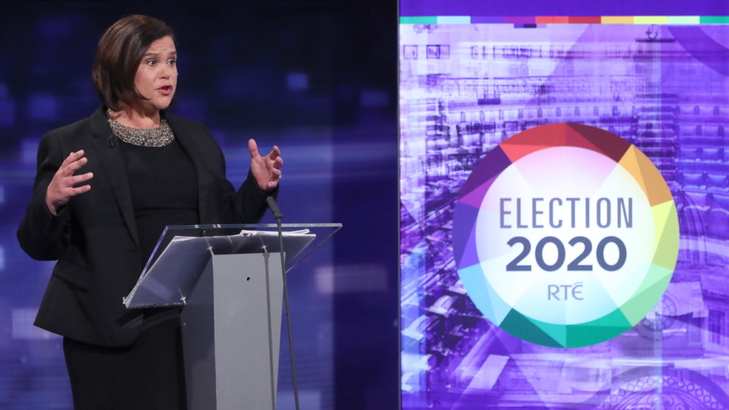 DUBLIN, IRELAND - FEBRUARY 04: Sinn Fein President Mary Lou McDonald during the final TV leaders' debate at the RTE studios on February 4, 2020 in Donnybrook, Dublin, Ireland. The Irish general election will take place on February 8. (Niall Carson - Pool/Getty Images)