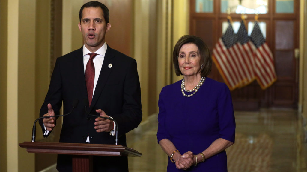WASHINGTON, DC - FEBRUARY 06: U.S. Speaker of the House Rep. Nancy Pelosi (D-CA) and Venezuelan opposition leader Juan Guaido speak to members of the media prior to their meeting at the U.S. Capitol February 6, 2020 in Washington, DC. Alex Wong/Getty Images