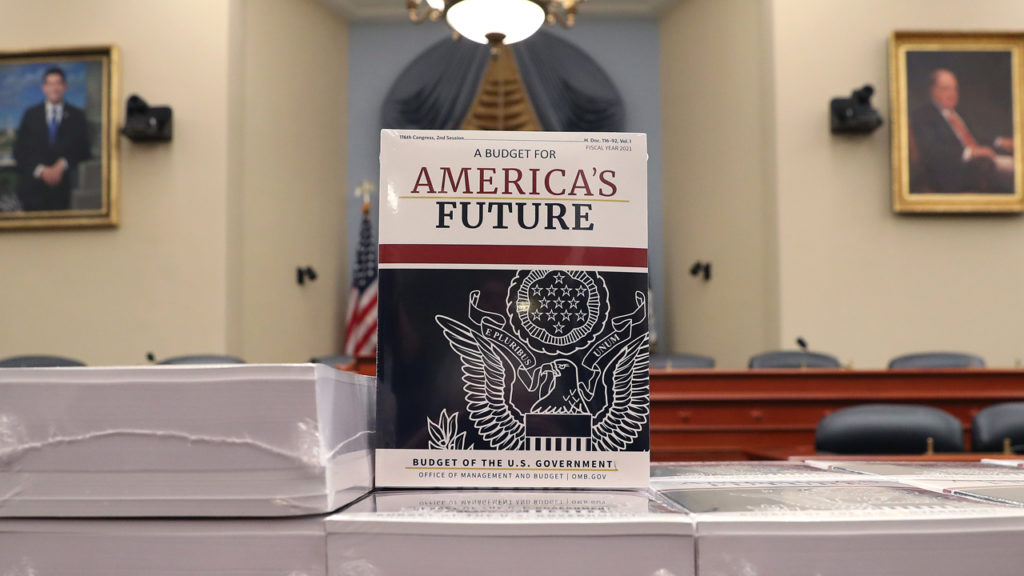 WASHINGTON, DC - FEBRUARY 10: Copies of President Trump's FY2021 budget are shown after being delivered to the House Budget Committee, on February 10, 2020 in Washington, DC. Mark Wilson/Getty Images