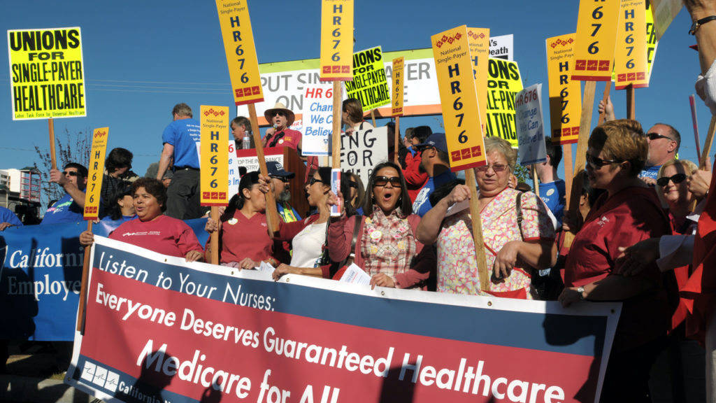With the final White House Forum on healthcare convening at the California Endowment in downtown Los Angeles, advocates of single payer/guaranteed healthcare are making their voices heard on the streets below. Axel Koester/Corbis via Getty Images