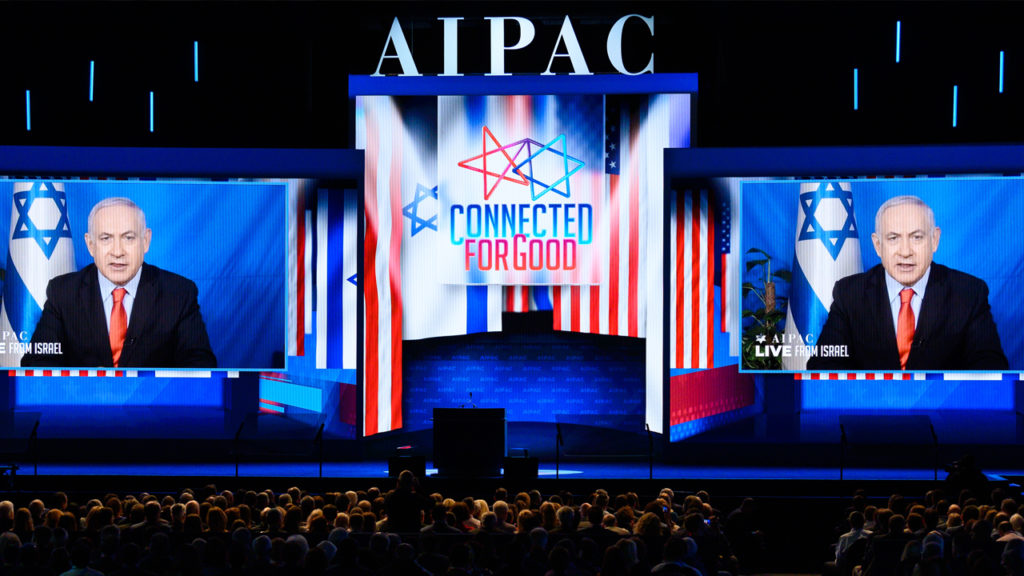 WASHINGTON, DC, UNITED STATES - 2019/03/26: Benjamin Netanyahu, Prime Minister of Israel seen speaking via video to the American Israel Public Affairs Committee (AIPAC) during the Policy Conference in Washington, DC. Michael Brochstein/SOPA Images/LightRocket via Getty Images