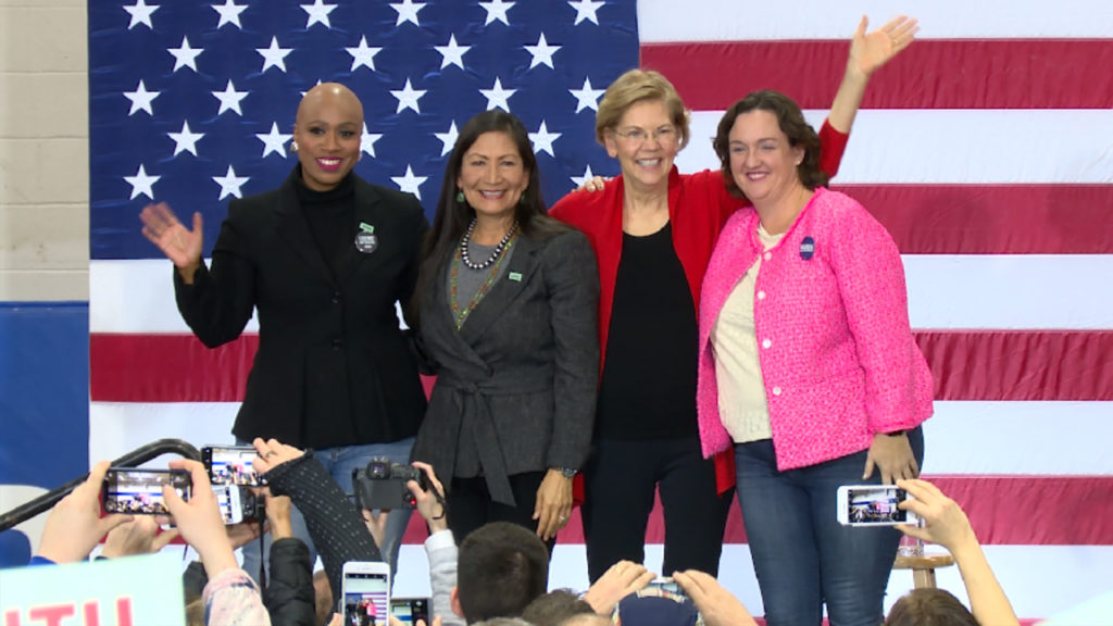 Sen. Elizabeth Warren, campaign co-chairs Deb Holland and Katie Porter, and Rep. Ayanna Pressley rally supporters in Concord, New Hampshire, days before the New Hampshire Primary. Cameron Granadino/TRNN