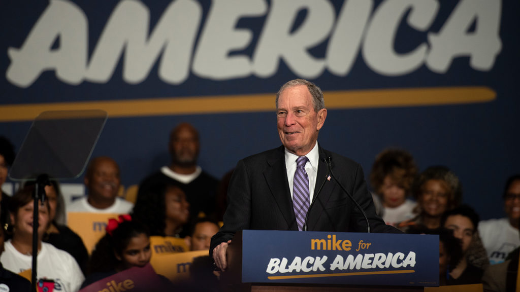 """Democratic Presidential Candidate Mike Bloomberg Launches """"Mike For Black America"""" Campaign Initiative  HOUSTON, TX - FEBRUARY 13: Democratic presidential candidate Mike Bloomberg speaks to the crowd on February 13, 2020 in Houston, Texas. The former New York City mayor launched """"Mike for Black America,"""" an effort to focus on key issues relating to black Americans on his fifth campaign trip to Texas. Callaghan O'Hare/Getty Images"""