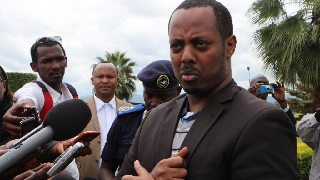 This picture taken on April 15, 2014 shows Rwandan musician Kizito Mihigo speaking to the media in Kigali. Stephanie Aglietti/AFP via Getty Images
