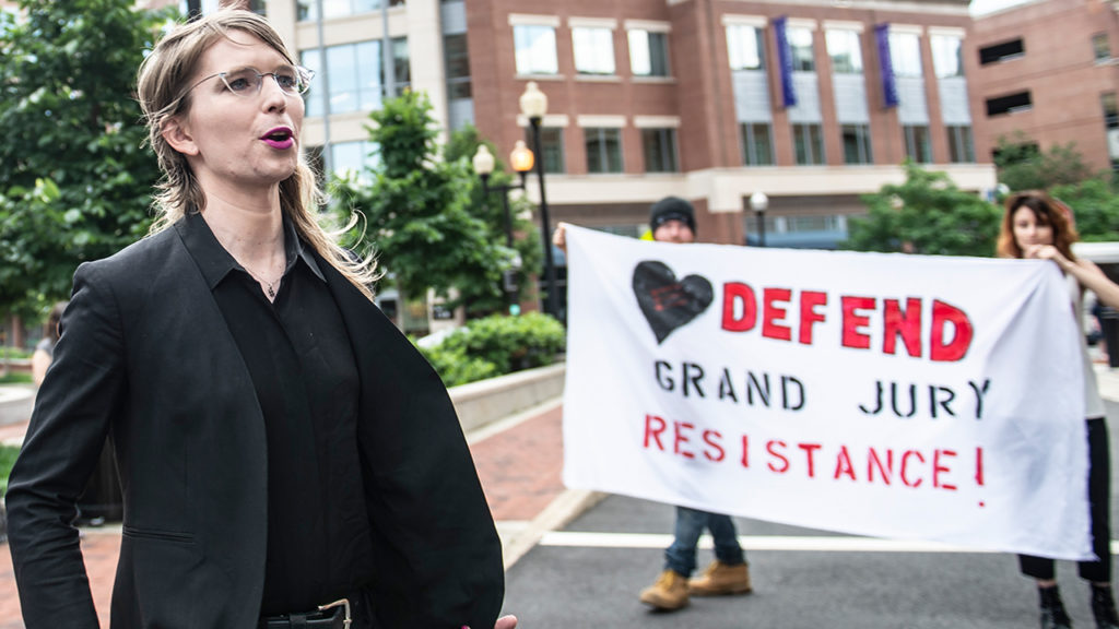 Former military intelligence analyst Chelsea Manning leaves after speaking to the press ahead of a Grand Jury appearance about WikiLeaks, in Alexandria, Virginia, on May 16, 2019. (Photo by Eric BARADAT / AFP via Getty Images)