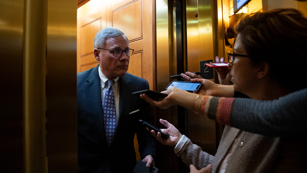 UNITED STATES - FEBRUARY 4: Sen. Richard Burr, R-N.C., speaks to reporters as he departs from the Senate Republican lunch in the Capitol on Tuesday, Feb. 4, 2020. (Photo by Caroline Brehman/CQ-Roll Call, Inc via Getty Images)