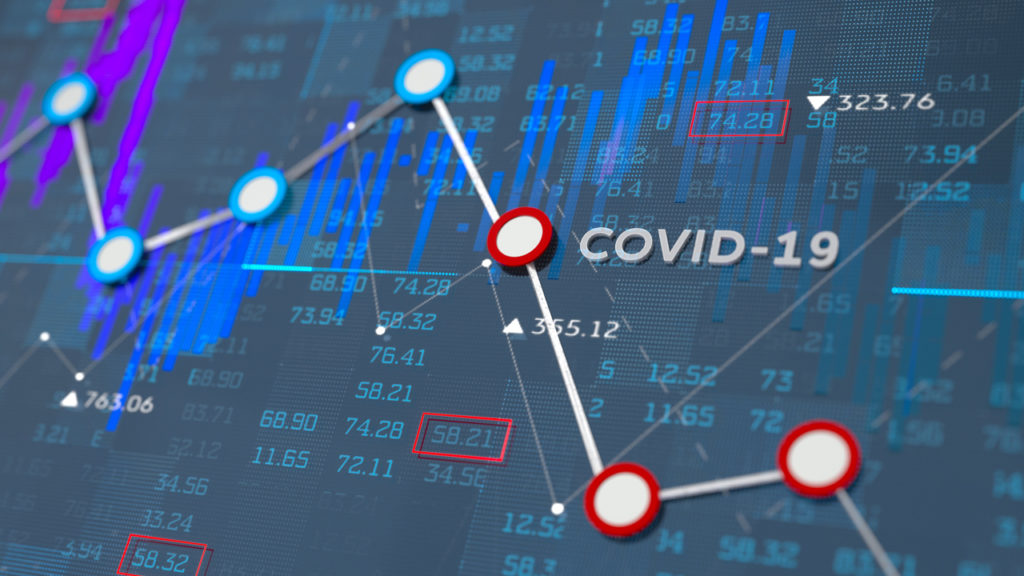 Digital generated image of financial line chart showing fallings because of COVID-19. Stock Photo/Getty Images