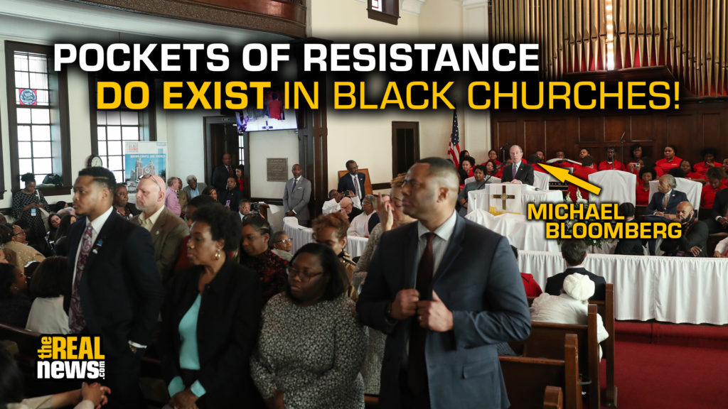 SELMA, AL - MARCH 01: People stand with their backs to Democratic presidential candidate, former New York City mayor Mike Bloomberg as he speaks during a worship event at the Brown Chapel AME Church on March 1, 2020 in Selma, Alabama. The people turned their backs because of among other issues they disagree with Mr. Bloomberg on many of his policies. Joe Raedle/Getty Images