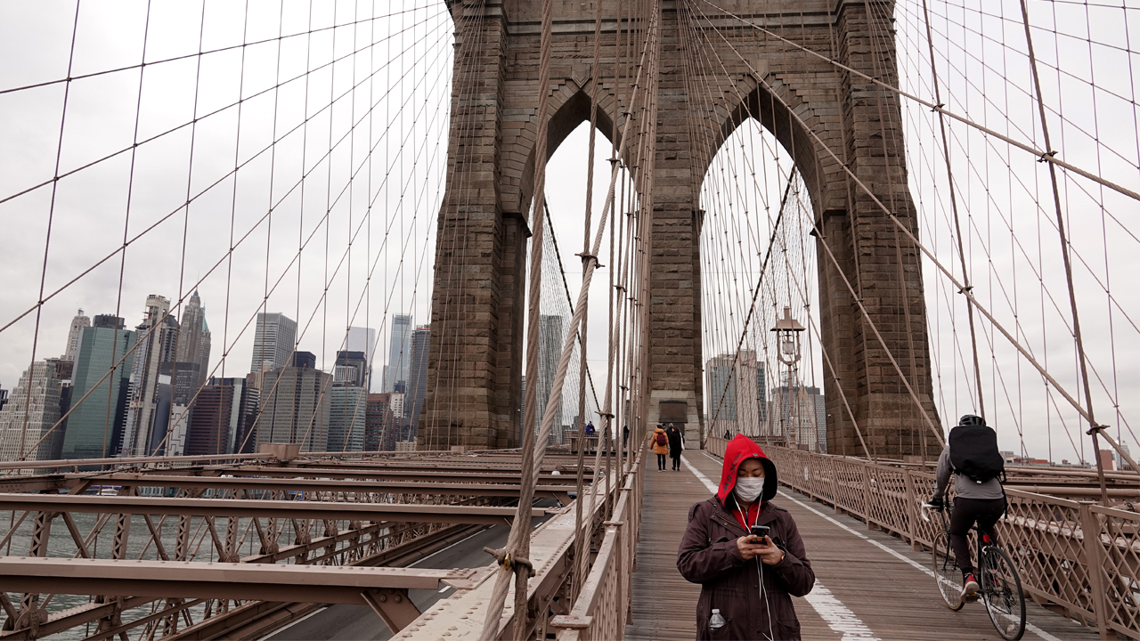 The Brooklyn Bridge sees significantly less traffic due to coronavirus cases and fears on March 17, 2020 in New York City. Justin Heiman/Getty Images