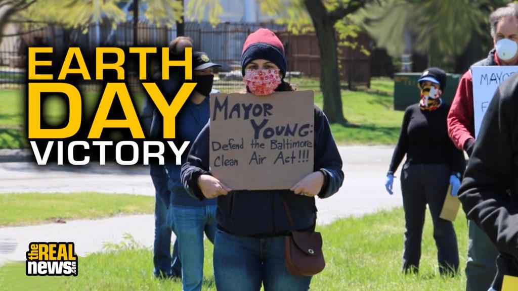 Activists held a die-in April 23 in front of Baltimore's Wheelabrator incinerator. Screenshot courtesy of David Reische