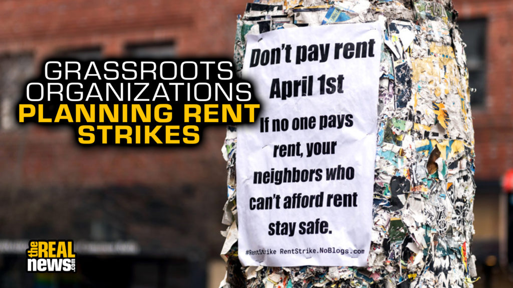 Seattle, USA, March 31, 2020: Poster calls for a rent strike. Stock Photo/Getty Images