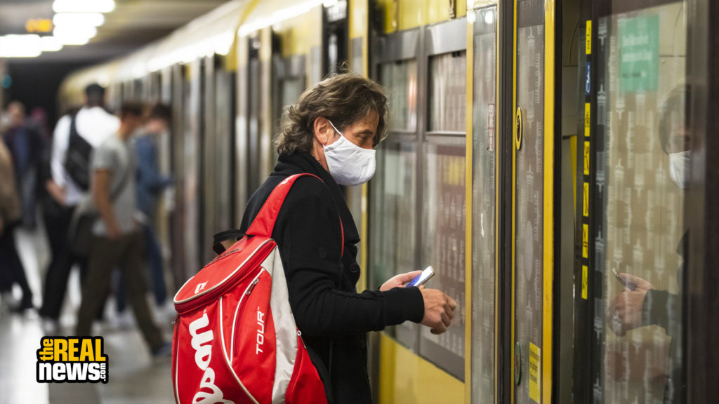 People travel with protective mask in the public transportation in Berlin, Germany on April 28, 2020. Emmanuele Contini/NurPhoto via Getty Images