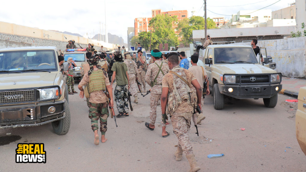 Members of Yemen's Southern Transitional Council, STC, forces are seen in Aden, Yemen, on April 26, 2020. Xinhua via Getty Images