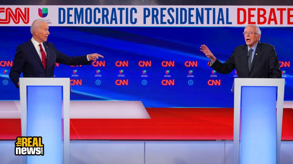 Democratic presidential hopefuls former US vice president Joe Biden (L) and Vermont Senator Bernie Sanders (R) take part in the 11th Democratic Party 2020 presidential debate in a CNN Washington Bureau studio in Washington, DC on March 15, 2020. Mandel Ngan/AFP via Getty Images