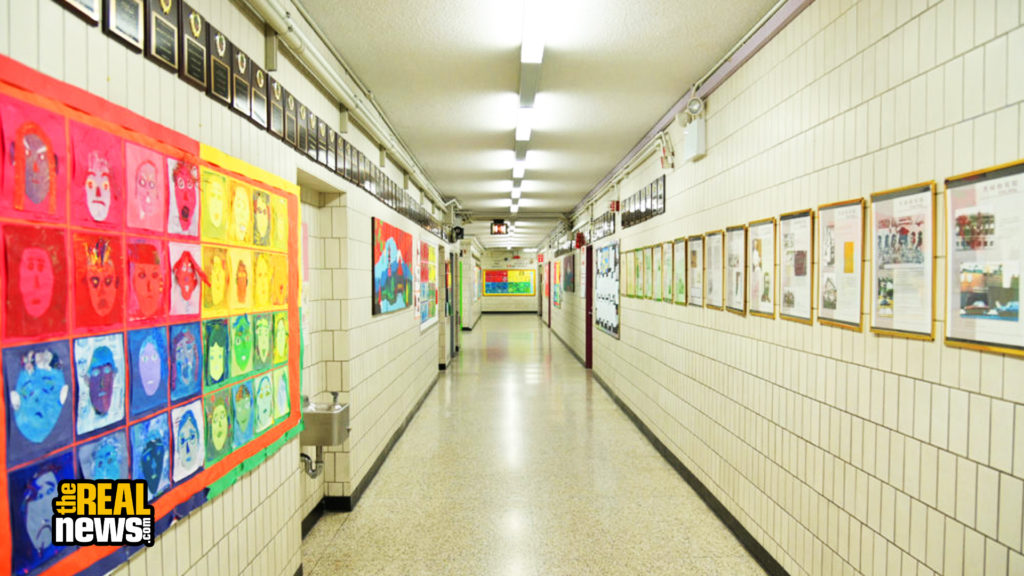 NEW YORK, NY - MARCH 17: A hallway is empty on what would otherwise be a school day as teachers and faculty members learn remote teaching and methods for students at Yung Wing School P.S. 124 in the Manhattan borough of New York City. Michael Loccisano/Getty Images