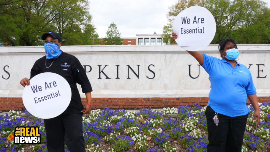 Workers protest layoffs at Johns Hopkins University in Baltimore. Cameron Granadino/TRNN