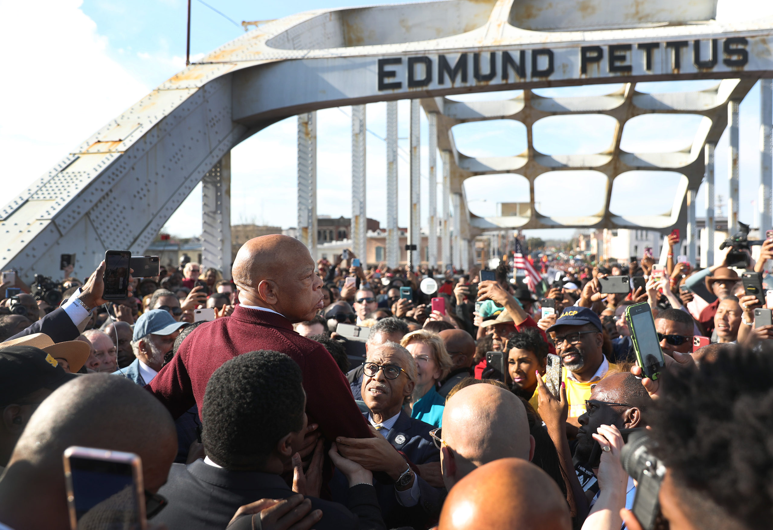 SELMA, ALABAMA - MARCH 01:  Rep. John Lewis (D-GA) speaks to the crowd at the Edmund Pettus Bridge crossing reenactment marking 55th anniversary of Selma's Bloody Sunday on March 1, 2020 in Selma, Alabama. Mr. Lewis marched for civil rights across the bridge 55 years ago. Some of the 2020 Democratic presidential candidates attended the Selma bridge crossing jubilee ahead of Super Tuesday. (Photo by Joe Raedle/Getty Images)