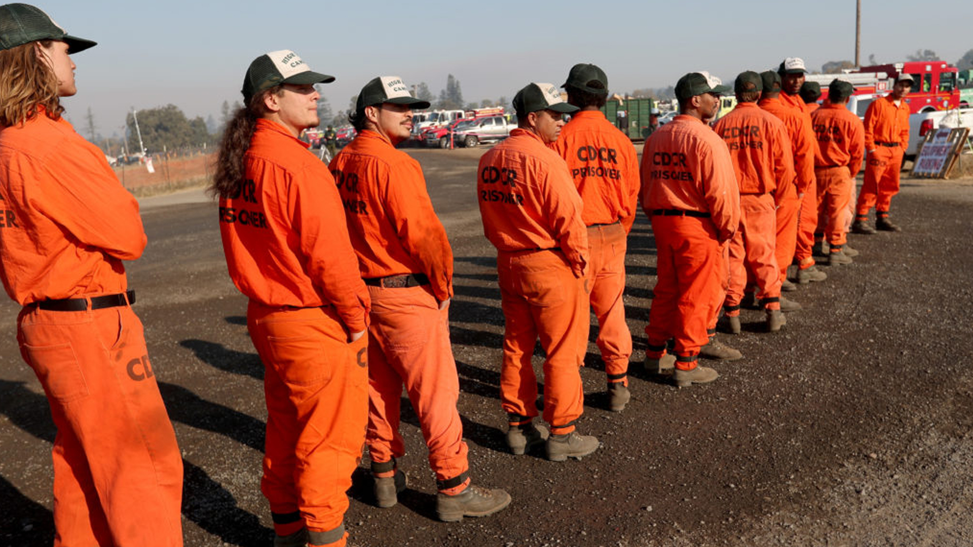 SANTA ROSA, CA: OCTOBER 29: California Department of Corrections inmates from Weott, in Humboldt County, line up as they await their deployment at the Kincade Fire Emergency Operations Center (EOC) at the Sonoma County Fairgrounds in Santa Rosa, Calif., on Tuesday, Oct. 29, 2019. (Photo by Jane Tyska/MediaNews Group/The Mercury News via Getty Images)